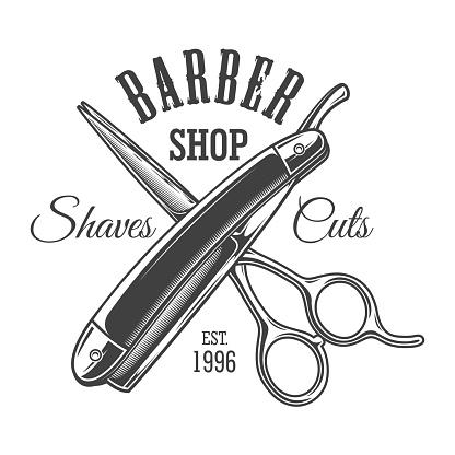 Vintage monochrome barbershop logo