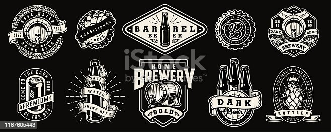 Vintage monochrome brewery prints