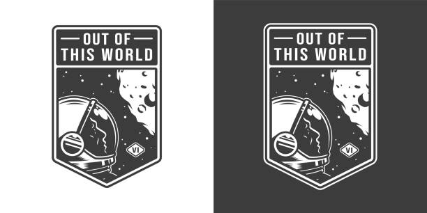 Vintage monochrome cosmic label Vintage monochrome cosmic label with astronaut in outer space isolated vector illustration moon surface stock illustrations