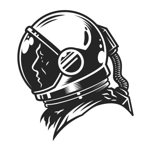 Vintage monochrome cosmonaut profile view template - illustrazione arte vettoriale