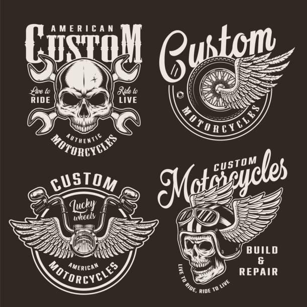 bildbanksillustrationer, clip art samt tecknat material och ikoner med vintage svartvita anpassade motorcykel logo typer - motorcyklist