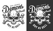 Vintage monochrome demon skull logotype with crossbones isolated vector illustration