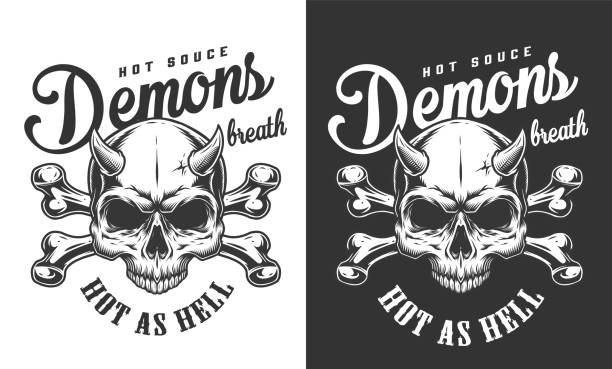 stockillustraties, clipart, cartoons en iconen met vintage monochrome demon schedel logo - vervuiling