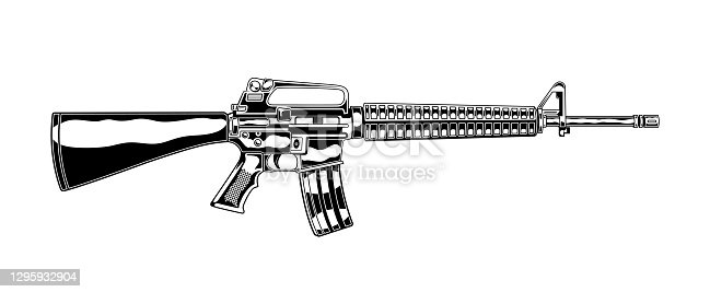 istock Vintage monochrome detailed illustration of m 16 assault rifle. Isolated vector template 1295932904