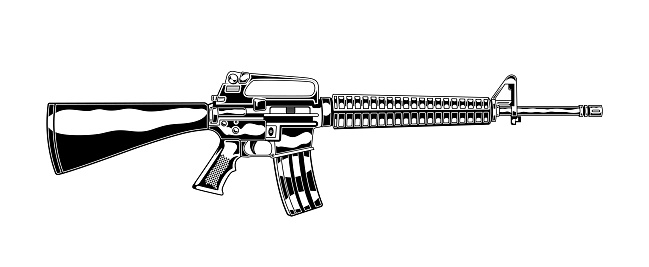 Vintage monochrome detailed illustration of m 16 assault rifle. Isolated vector template