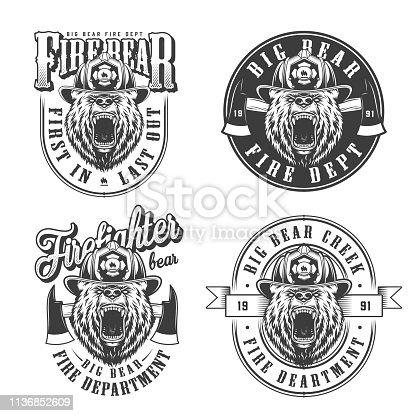 Vintage monochrome firefighting emblems set