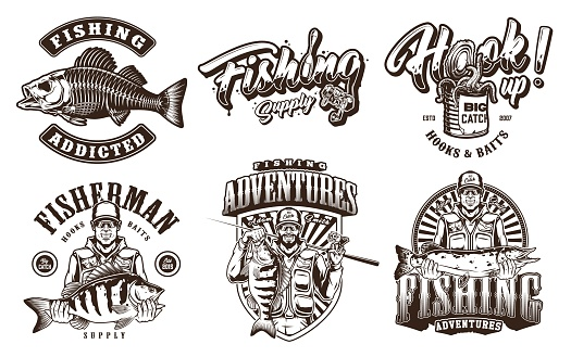 Vintage monochrome fishing prints