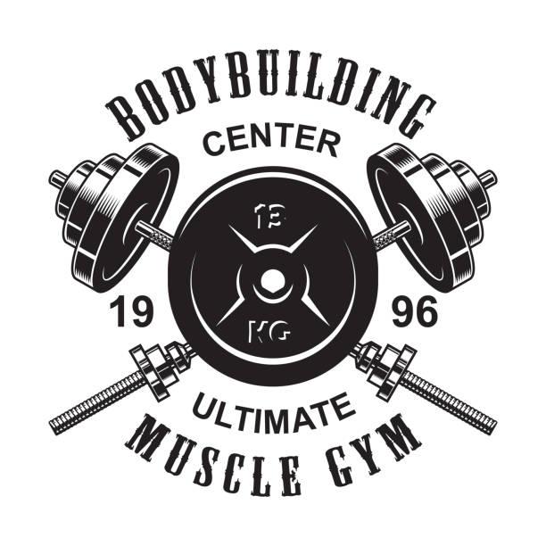 Vintage monochrome fitness logo template vector art illustration
