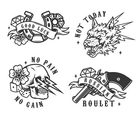 Vintage monochrome gambling emblems