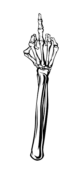 Vintage monochrome illustration of a bony hand with a raised middle finger. Isolated vector template