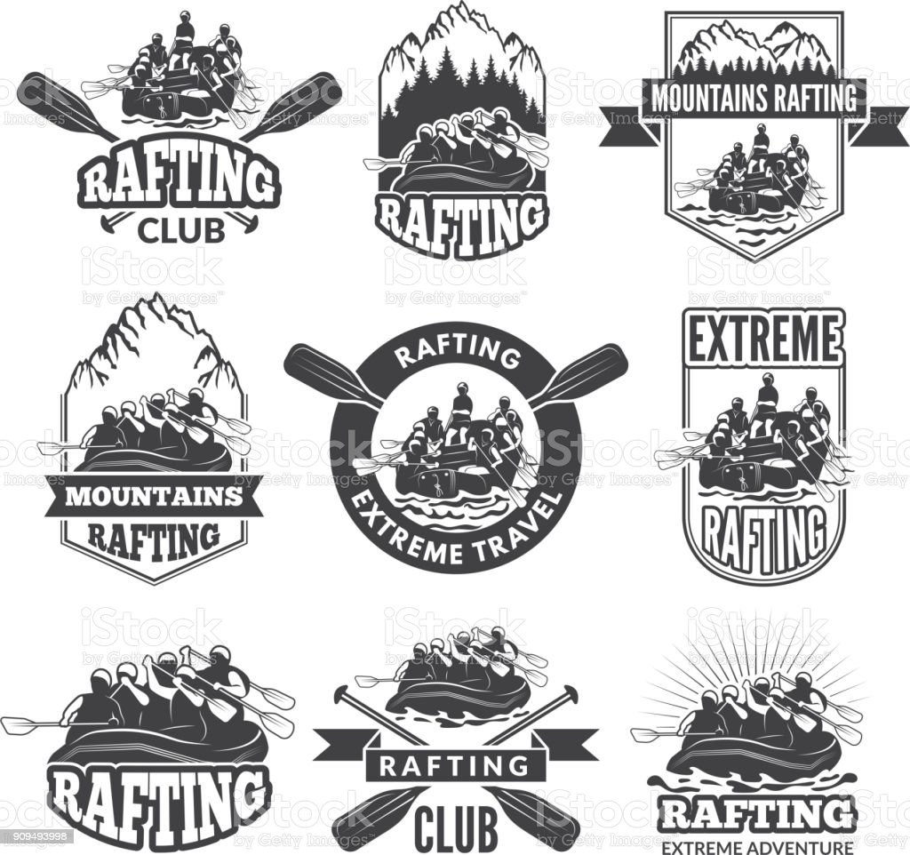 Vintage monochrome labels for dangerous water sports. Symbols of rafting. Pictures of kayak vector art illustration