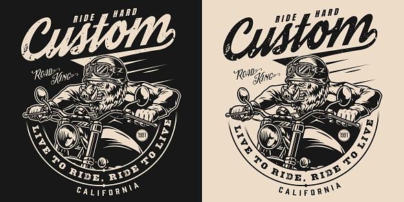 Vintage monochrome motorcycle print