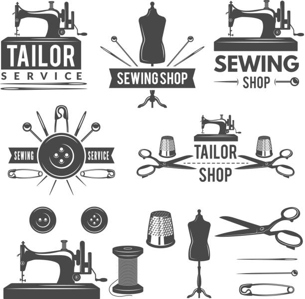 stockillustraties, clipart, cartoons en iconen met vintage monochrome afbeeldingen en labels voor kleermaker winkel. logo's voor de textielproductie van - op maat gemaakt