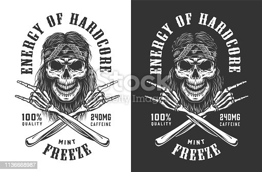 Vintage monochrome rockstar skull logotype with crossed skeleton hands showing rock and roll signs isolated vector illustration