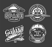 Vintage monochrome space badges set with shuttles alien spaceship and cosmonaut helmet isolated vector illustration