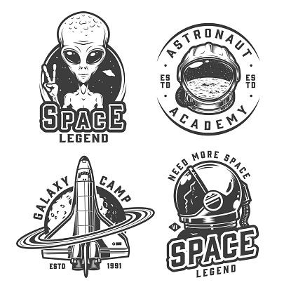 Vintage monochrome space badges set