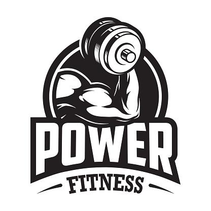 Vintage monochrome sport and fitness logo