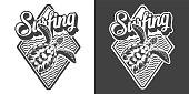 Vintage monochrome surfing logo
