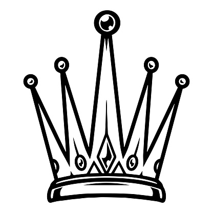 Vintage monochrome tattoo of royal crown