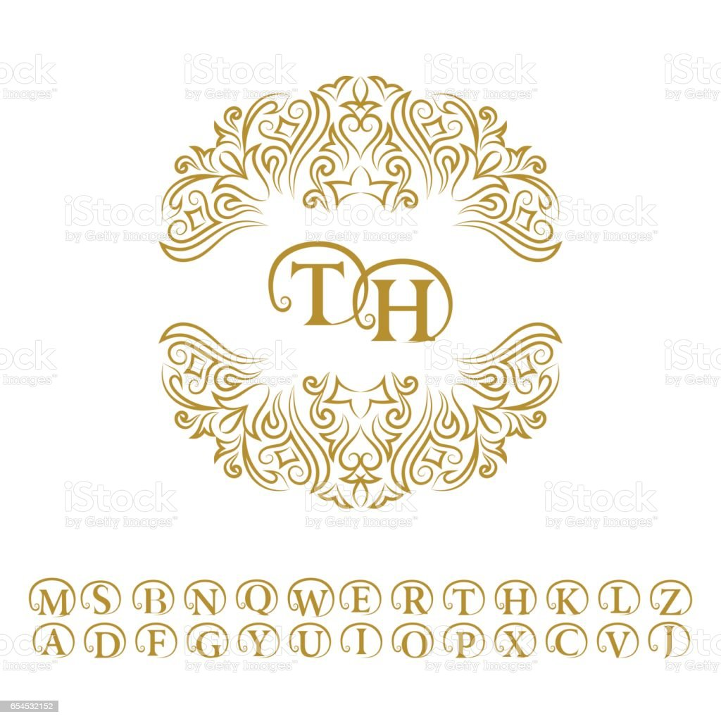 Vintage Monogram Alphabet Abstract Frame Letter Emblem T H Line Art