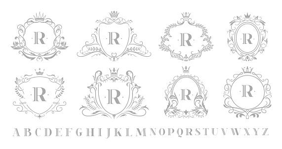 Vintage monogram emblem. Retro art ornamental luxury emblems, royal crown monograms wreath and wedding swirls frame vector illustration set