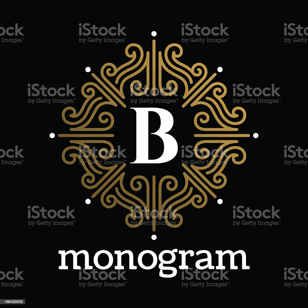 Vintage monogram frame template vector art illustration