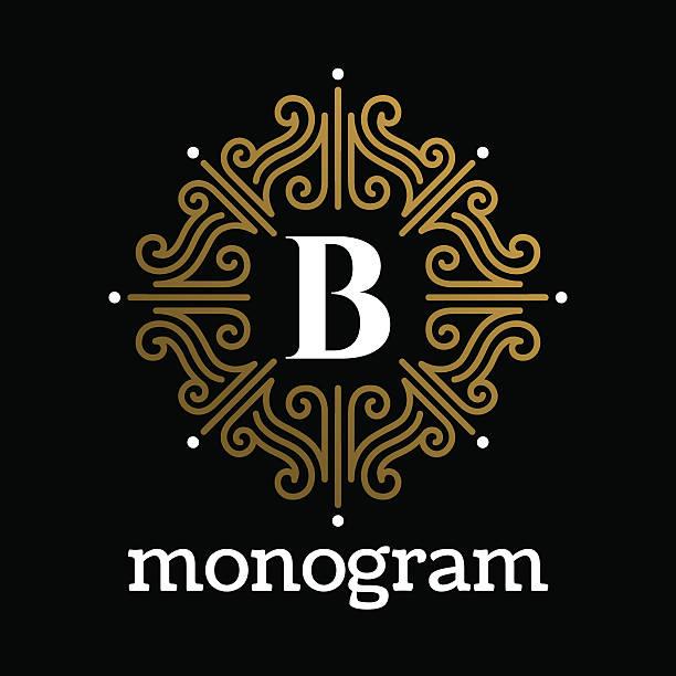 Vintage monogram frame template vector art illustration