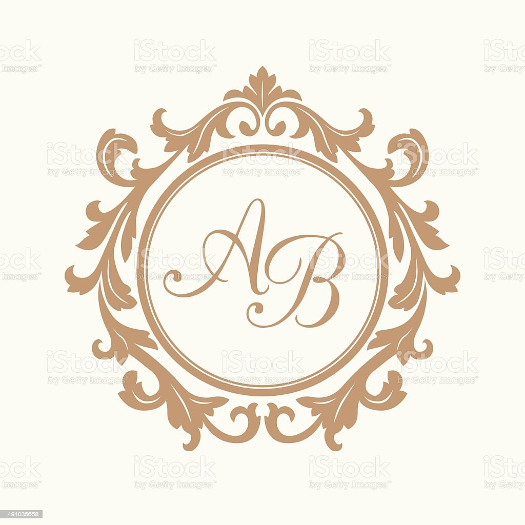 vintage monogram template stock vector art more images of 2015