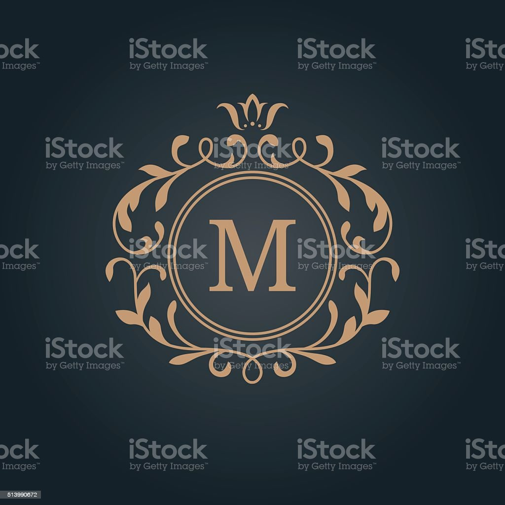 Vintage monogram template vector art illustration
