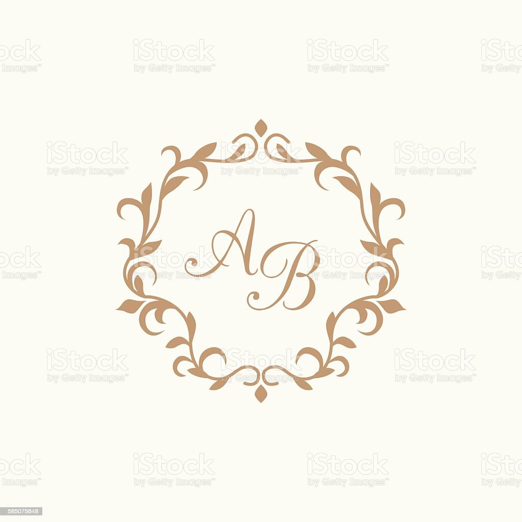 vintage monogram template stock vector art more images of abstract