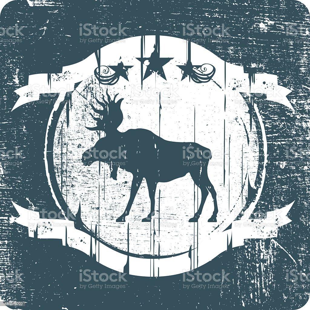 vintage moose grunge shield