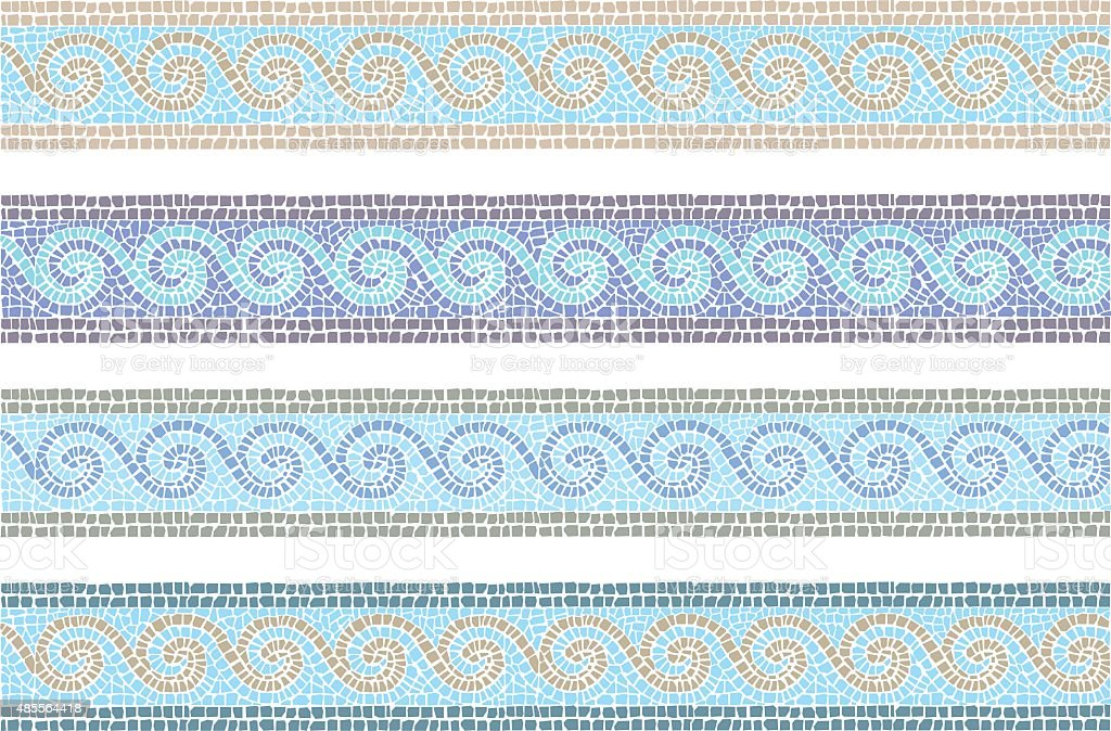 Vintage mosaic seamless border vector art illustration