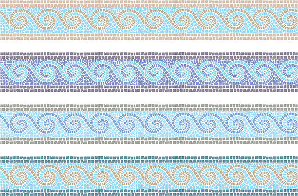 Vintage mosaic seamless border Stock vector illustration of vintage mosaic in the Byzantine style seamless border ancient stock illustrations
