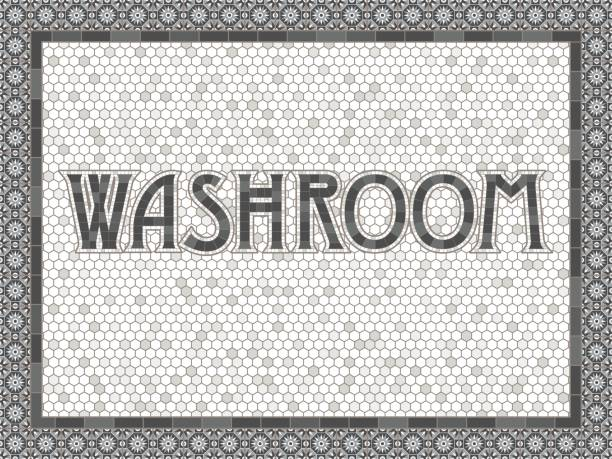 Vintage Mosaic Tile Washroom Typography Design An old art-deco inspired typeface done in an aged mosaic tile style. Colors are global swatches so they're easy to change. bathroom borders stock illustrations