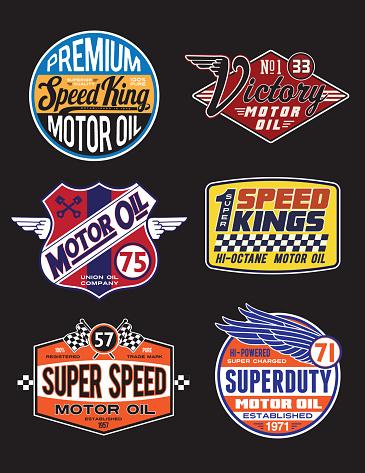 Vintage Motor Oil Signs and Label Set