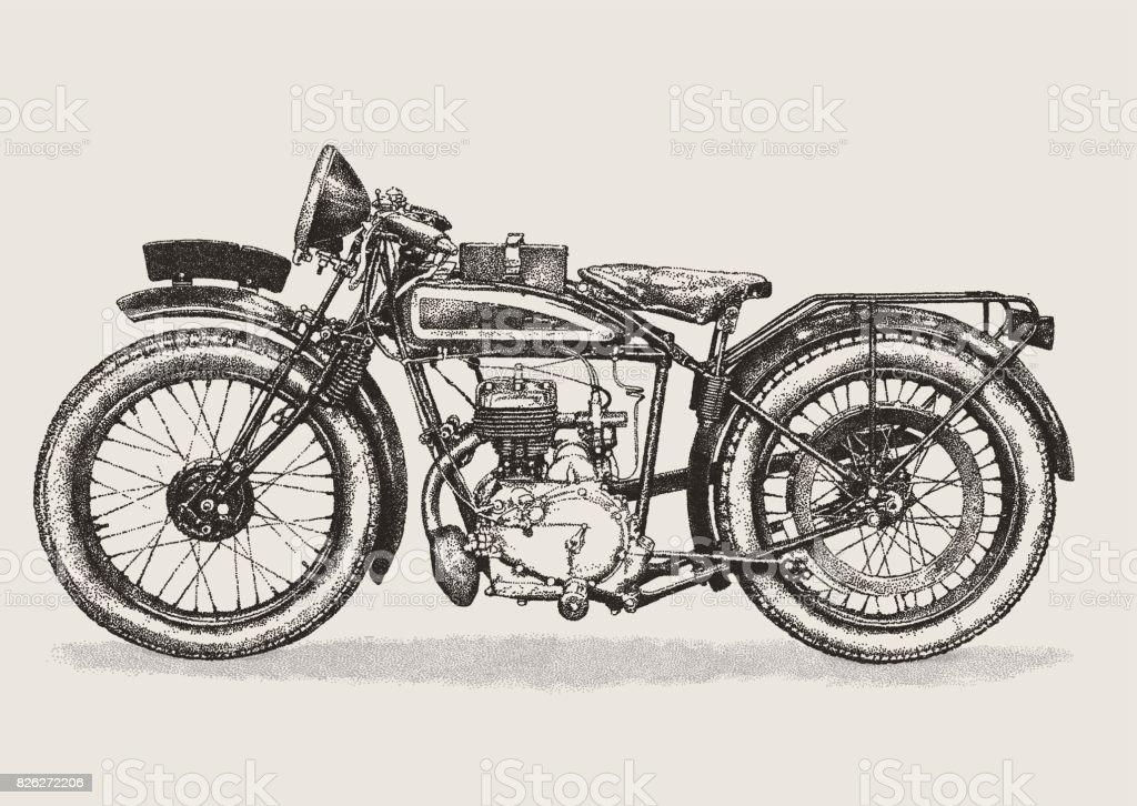 Vintage Motorbike vector art illustration