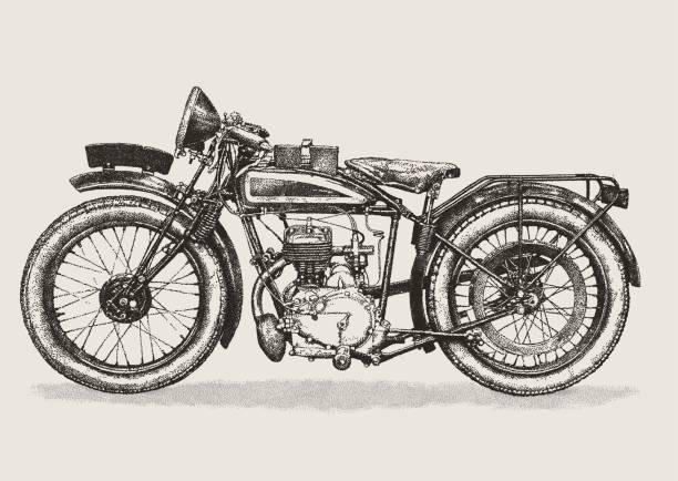 vintage motorbike - motorcycle stock illustrations, clip art, cartoons, & icons