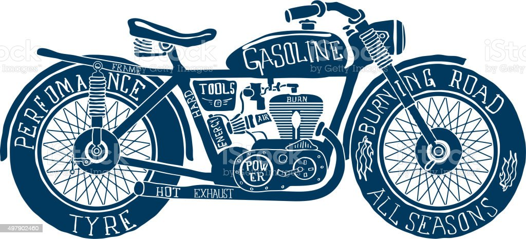 Vintage Motorcycle Hand Drawn Silhouette Vector Stock ...