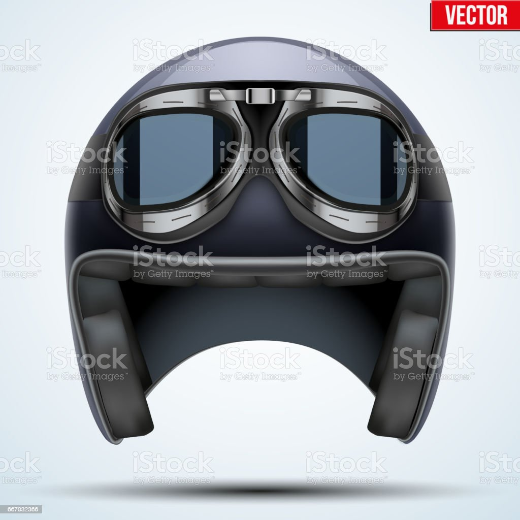 Vintage motorcycle helmet with goggles vector art illustration