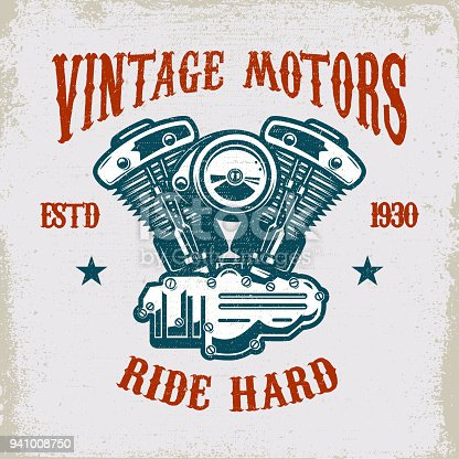 Vintage motorcycle motor on grunge background. Design element for  label, emblem, sign, poster, t shirt. Vector illustration