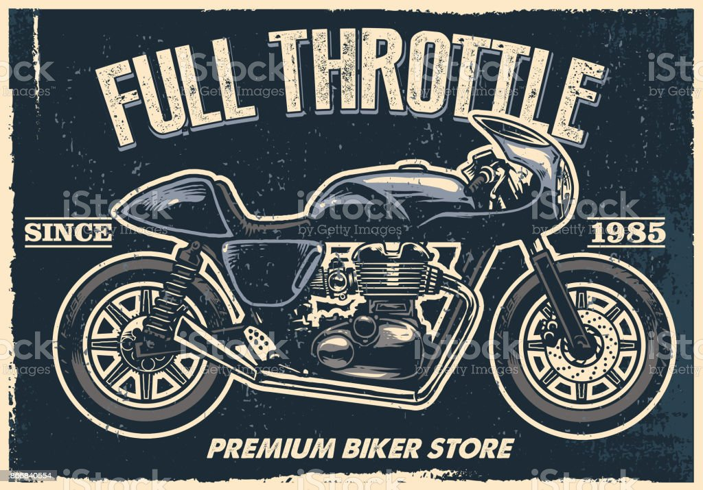 vintage motorcycle poster, texture is easy to remove vector art illustration