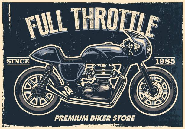 oldtimer motorrad poster, textur ist leicht zu entfernen - funktionsjacke stock-grafiken, -clipart, -cartoons und -symbole