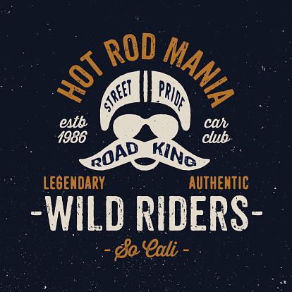 Vintage motorcycle rider apparel design