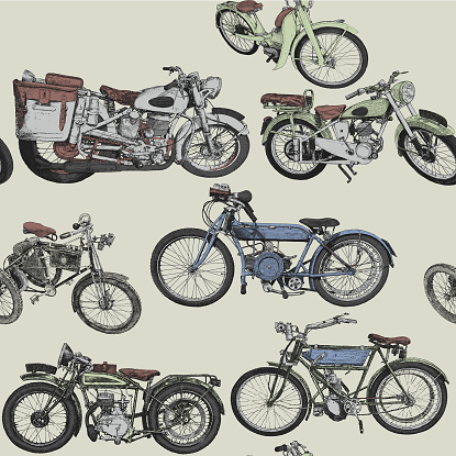 Vintage Motorcycle Seamless Repeat Pattern