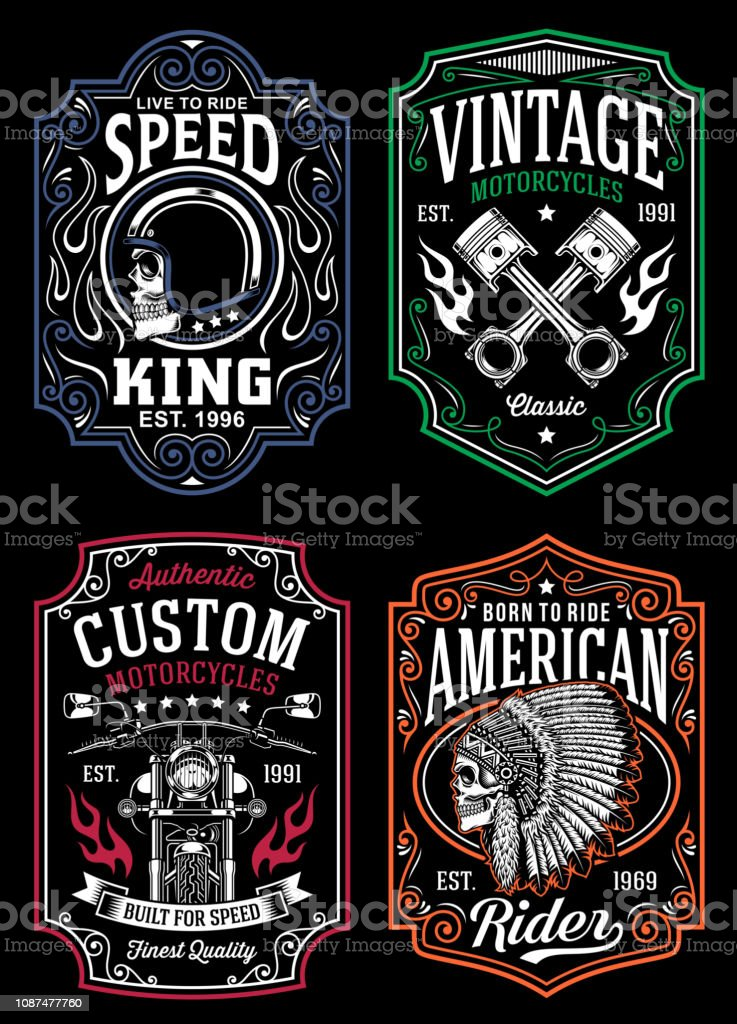 4c629f694 Vintage Motorcycle T-shirt Graphic Collection royalty-free vintage  motorcycle tshirt graphic collection stock