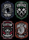 fully editable vector illustration of vintage motorcycle, image suitable for t-shirt graphic, emblem, insignia, badge, poster or graphic print