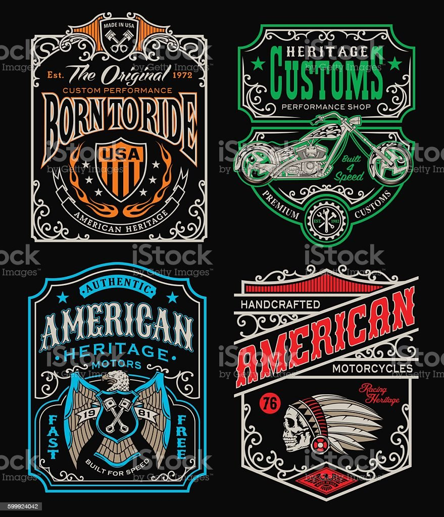 Vintage motorcycle t-shirt graphic set - ilustración de arte vectorial
