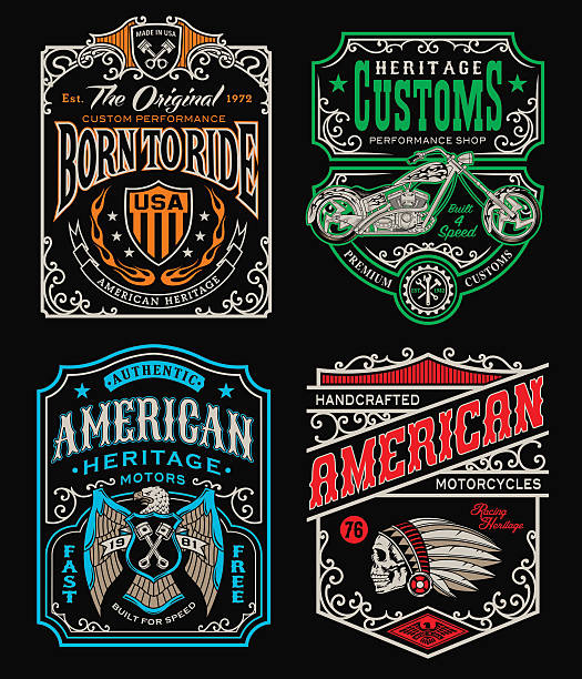 illustrations, cliparts, dessins animés et icônes de vintage motorcycle t-shirt graphic set - tatouages de crânes