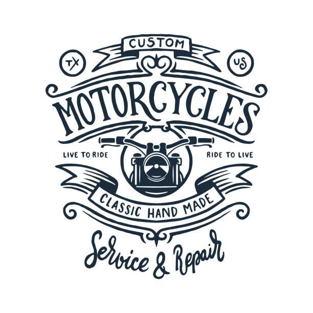 bildbanksillustrationer, clip art samt tecknat material och ikoner med vintage motorcykel t-shirt grafik. vektor illustration. - motorcyklist