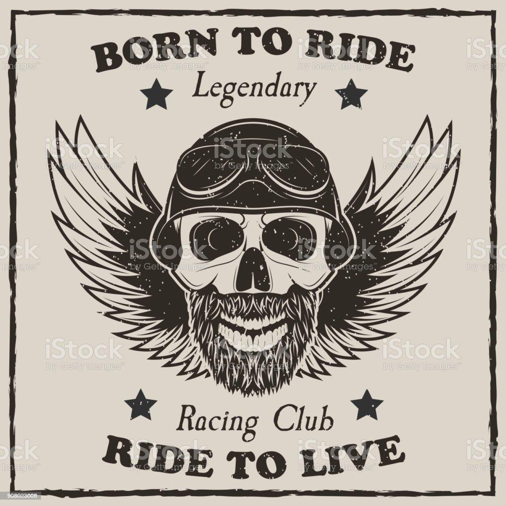 Vintage Motorcycle Tshirt Vector Grunge Illustration Stock